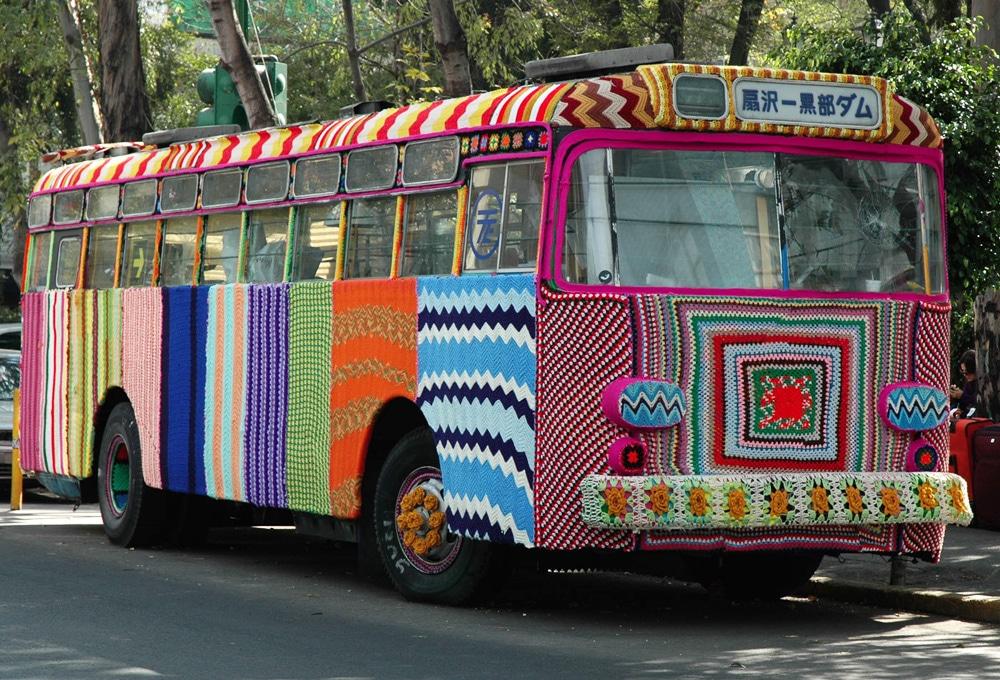 Bus du Mexique recouvert de tricot