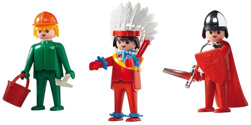 L'Indien, le Chevalier et l'Ouvrier sont les toutes premières figurines Playmobil.