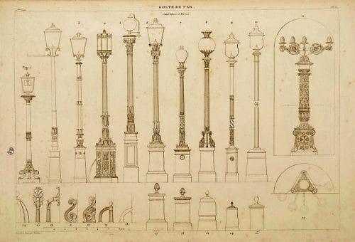 Dessin représentant les différents modèles de lampadaires au 19ème siècle